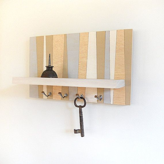 Small Key Wall Decor : Shore small wood wall shelf geometric modern key rack
