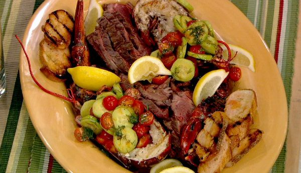 The chew recipe mario batali s grilled lobsters and hangar steak