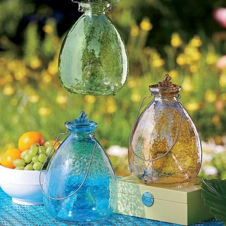 Glass Wasp Trap adds charm to your outdoor summer party decorations while catching annoying yellow jackets.