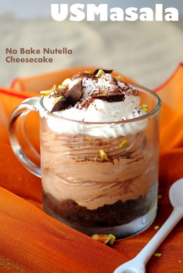 US Masala: No Bake Nutella Cheesecake! | Recipes to try | Pinterest