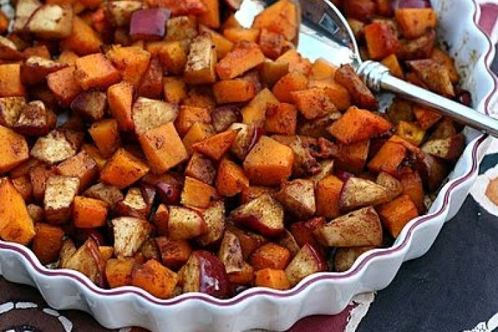Baked Spiced Butternut Squash with Apples and Maple Syrup...I made ...