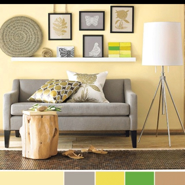 Gray couch living rooms and everything home pinterest - Furniture for yellow walls ...