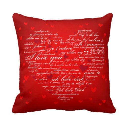 Decorative Throw Pillows With Words : Modern Love Words Heart Decorative Throw Pillow