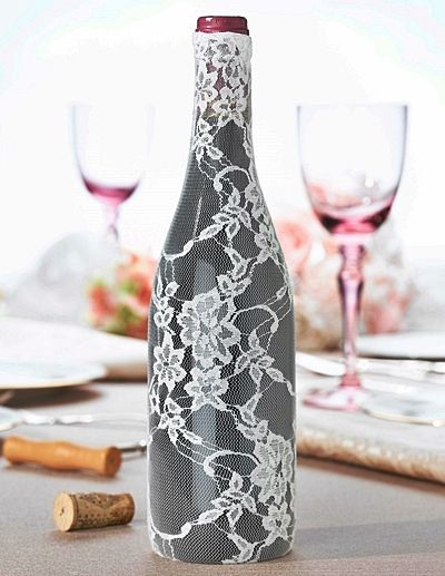 Cream colored lace wine bottle cover for Where to buy colored wine bottles