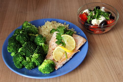 via: Quinoa, salmon with lemon juice and parsley, broccoli; cherry ...