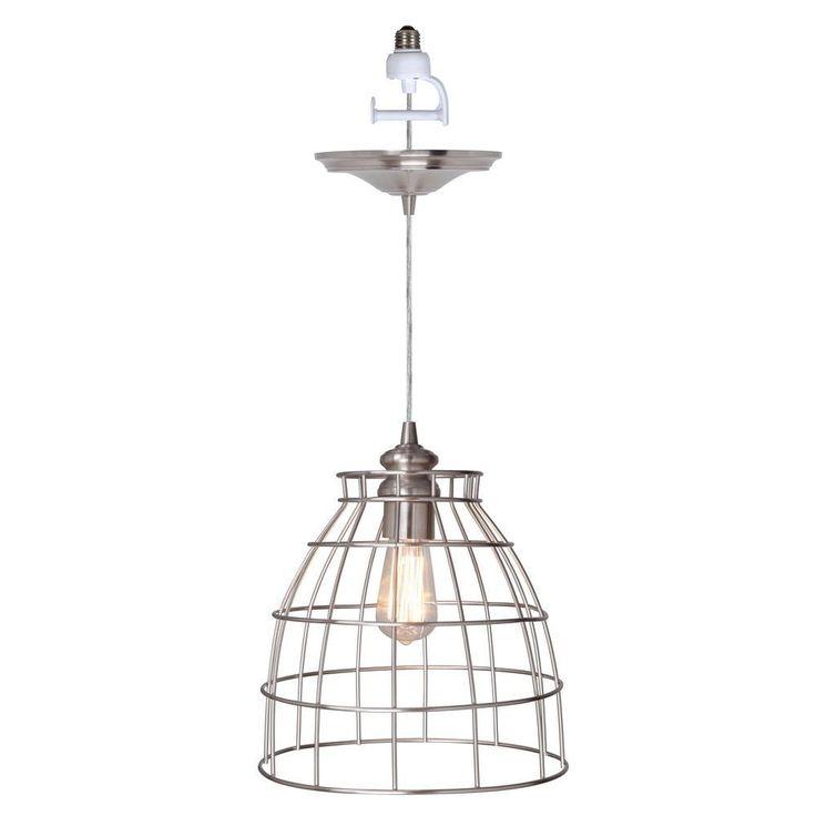 products 1 light brushed nickel instant pendant light conversion kit. Black Bedroom Furniture Sets. Home Design Ideas