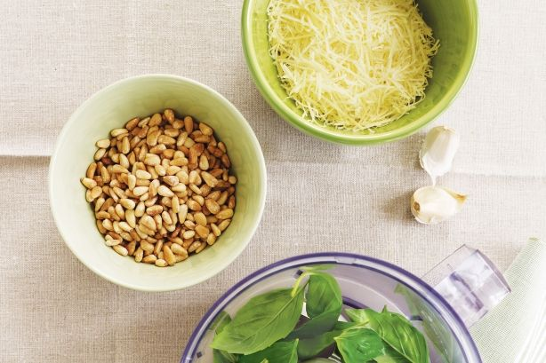 Basil pesto 1/4 cup pine nuts 1 1/2 cup basil 2 garlic cloves 3/4 cup ...