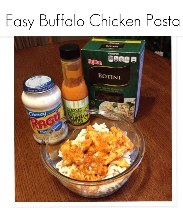 Easy Buffalo Chicken Pasta Alfredo. Cook rotini pasta, cover with ...