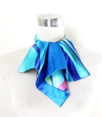 Polyester Silk-Feel Magic Fashion Neck Scarf - Multicolored Blue Ribbon Design (40+ tying styles) $6.95