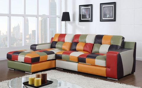Multi Colored Top Grain Leather Sectional Knox Furniture