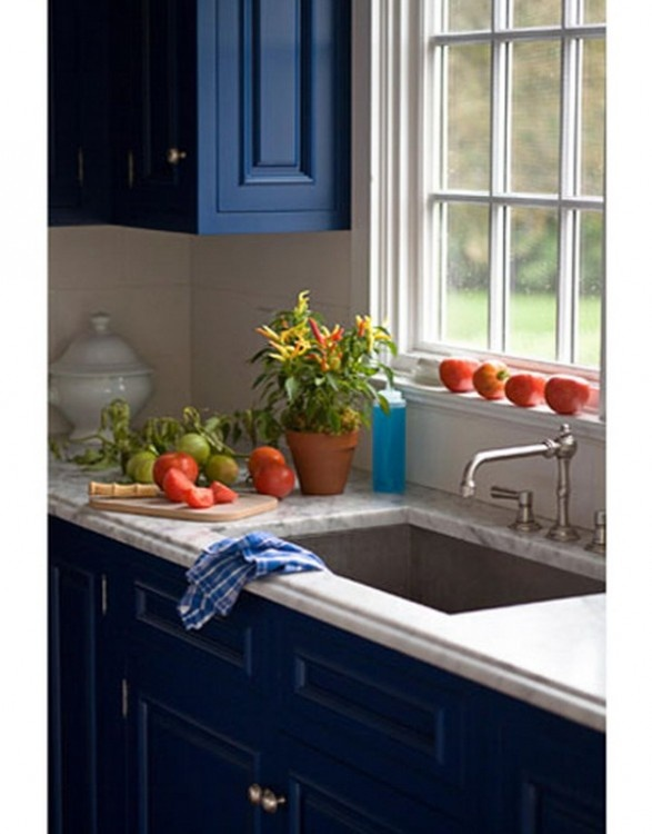 blue kitchen love  hmm, wonder if I can dare to carry the cobalt blue