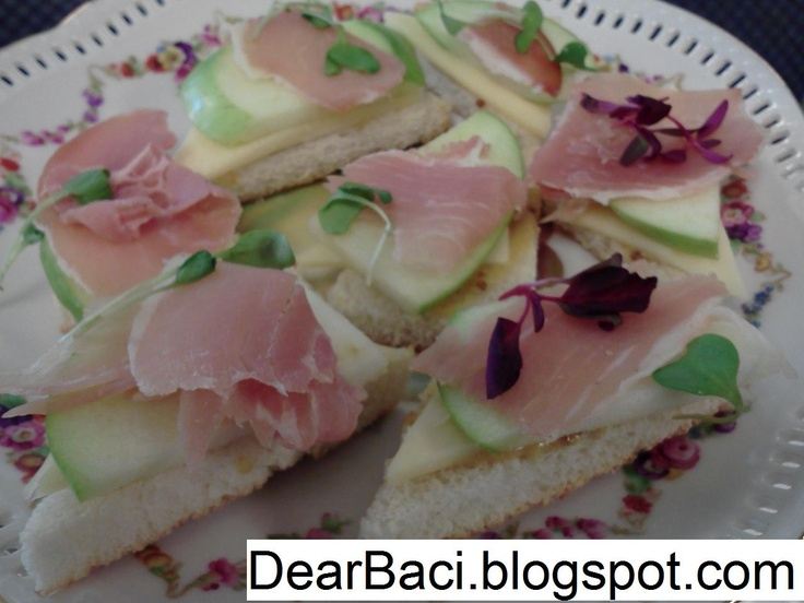 prosciutto and cheese finger sandwiches baby shower pinterest
