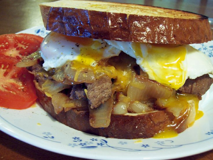 steak egg and cheese breakfast sandwich | Breakfast - That First Meal ...