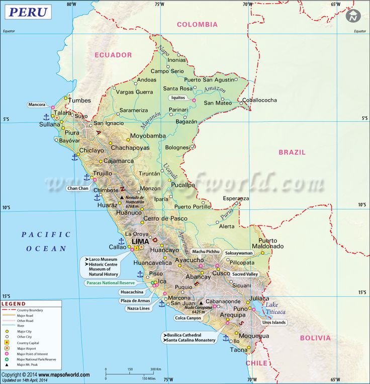Vibrant image with printable map of peru