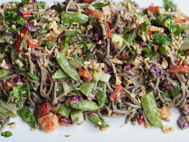 Soba Noodle Salad with Asian Peanut Dressing   Nourish   Pinterest