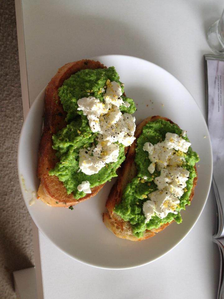 ... bean, Pea, Garlic and Mint Puree on toasted crostini with goats cheese