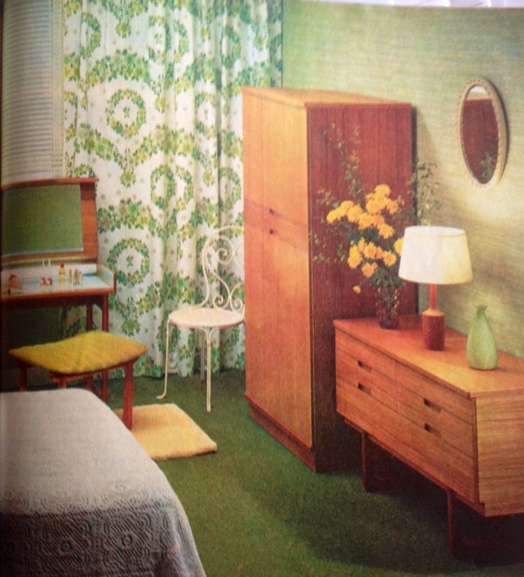 Pin by terrebella grafico on 1960s bedroom  green Pinterest - 1960s Bedroom Furniture