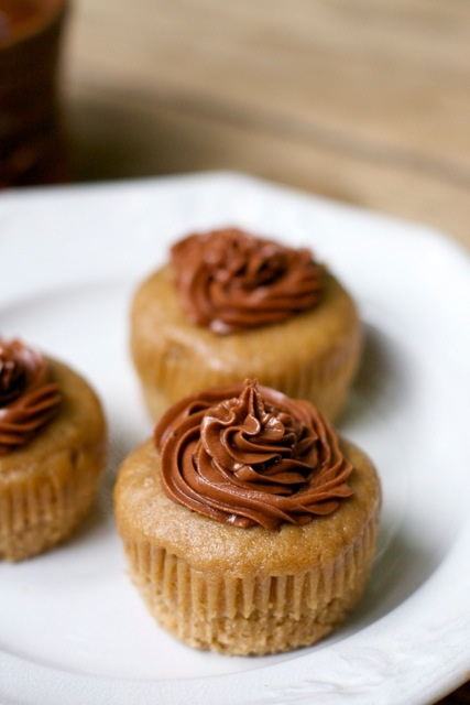Mini coffee cakes topped with decadent coffee-infused fudge frosting