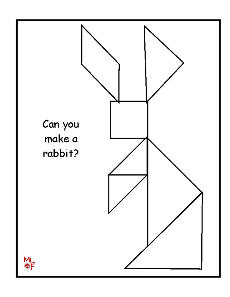 Rabbit Tangram Printable Kindergarten Math Pinterest Patterns