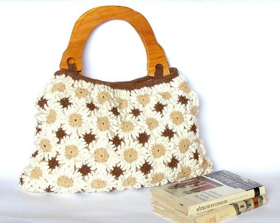 ... handbag in natural colors with wooden handles, crochet bag, purse