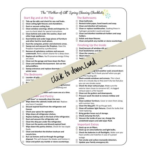 The Mother of All Spring Cleaning Checklists!  #spring cleaning #cleaning #diy