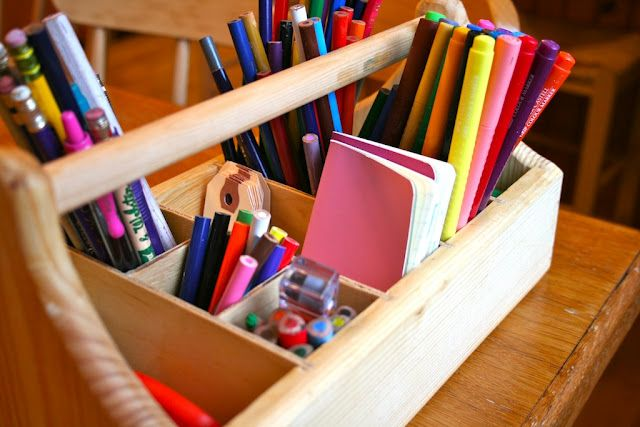 a great way to make art supplies accessible and this is a great article -Art with Kids
