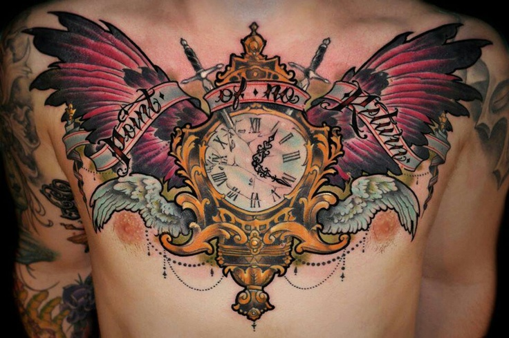Owl Clock Chest Tattoo