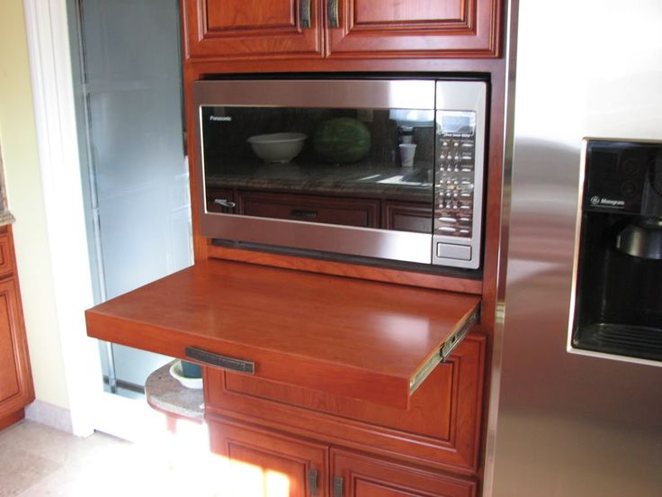 Microwave In Our Cabinet We Have A Pullout Shelf Below The Microwave
