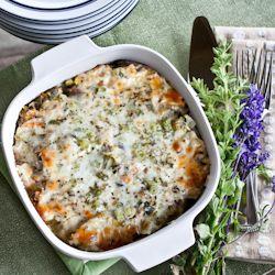 creamy, cheesy, potato leek casserole, rich and satisfying.
