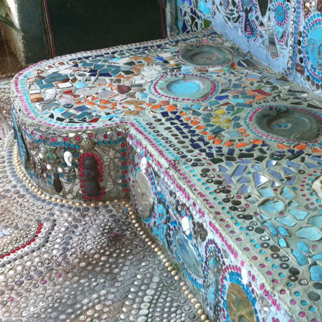 Mosaic patio seating at the home of Beatrice Wood in Ojai, CA