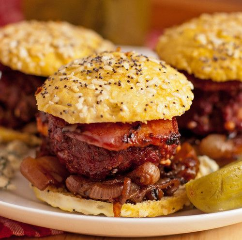 Smoked Gorgonzola Sliders with Balsamic Marinated Onions and Bacon