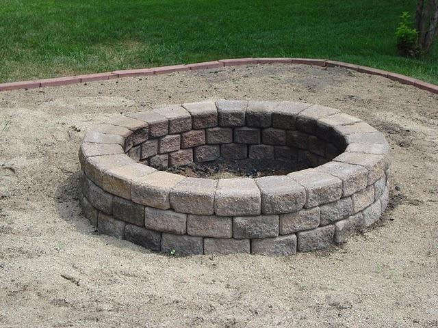 DIY backyard fire pit  Outdoor fireplacefirepit  Pinterest