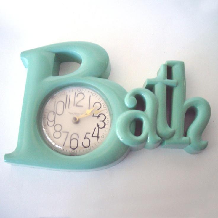 Vintage Sea Mist Bath Lettered Clock Holy Moley This