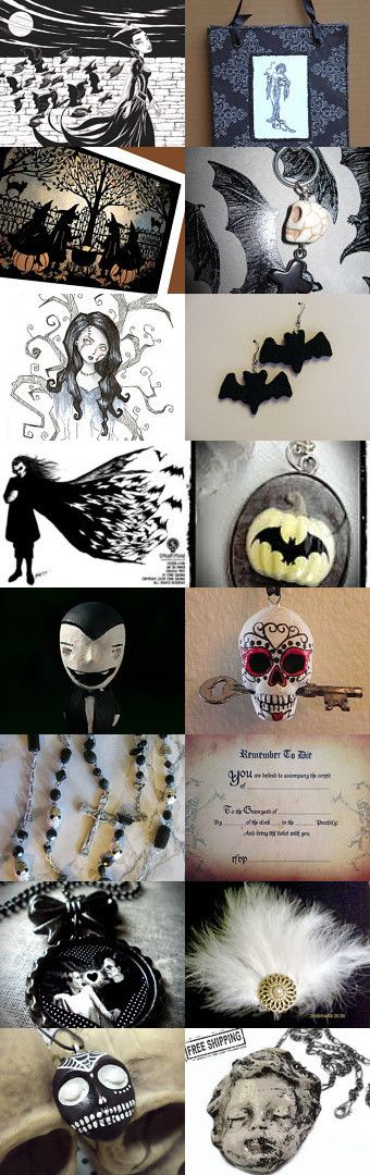 Black and White and Boo All Over by V. Sarada Holt on Etsy--Pinned with TreasuryPin.com #halloween #halloweenartistbazaar