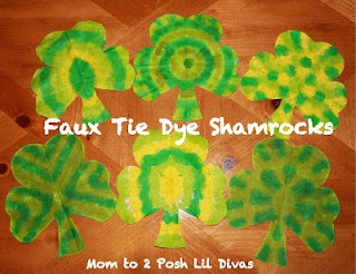 Faux Tie Dye (coffee filter) Shamrocks - so many fun designs to make & unveil