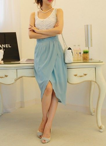 Sky blue chiffon tulip long skirt