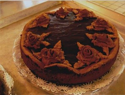 Deep Dark Chocolate Cheesecake with Chocolate Roses