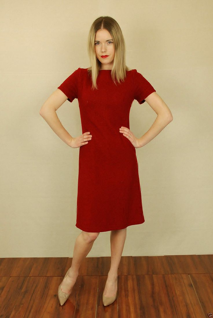 Vtg 70s Red Skinny Wool Secretary Mod Sweater Mini Party A ...