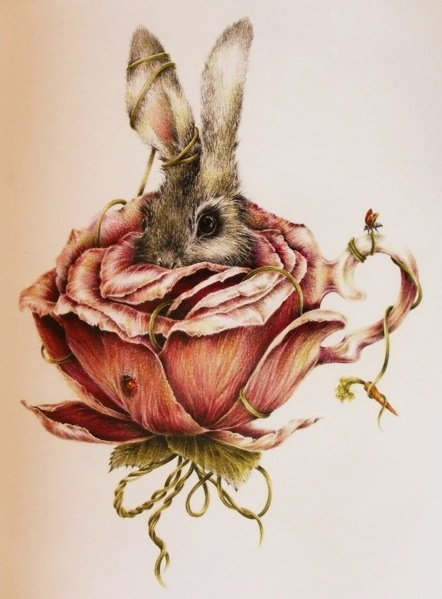 bunny in a pink rose teacup