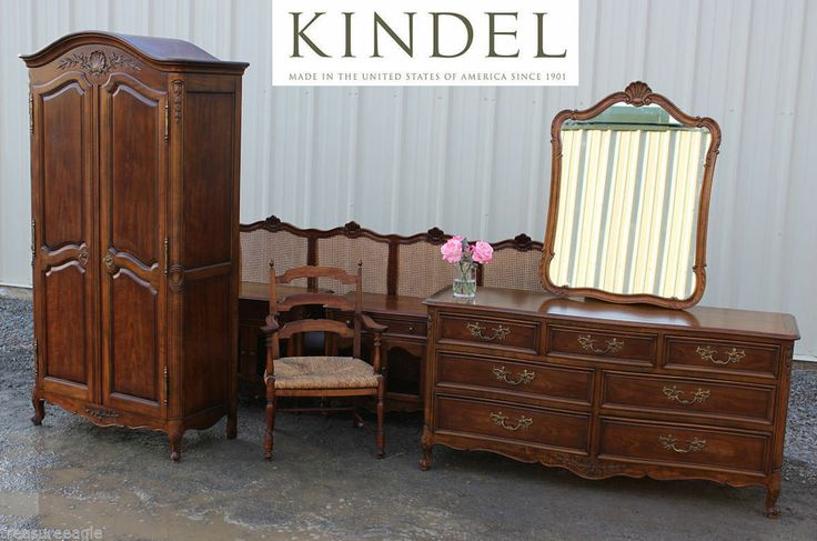 Rare Kindel 7pc French Bedroom Set Cherry Armoire King Size Bed Baker