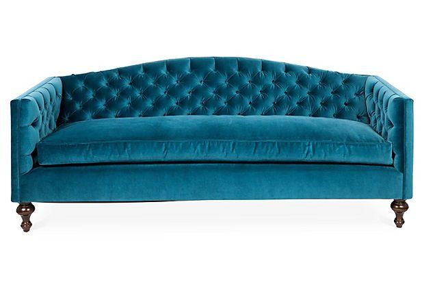 Victoria 87 Tufted Velvet Sofa Teal