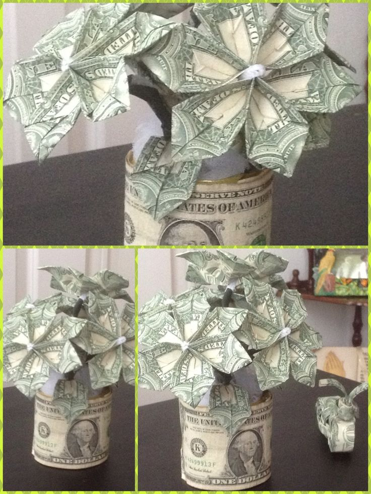 Origami Dollar Flower In A Pot