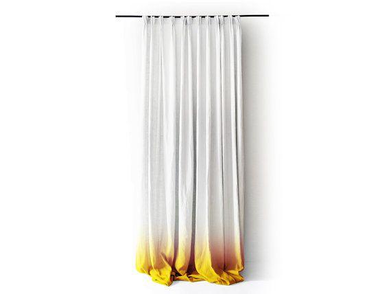 White Linen curtain panel Ombrè Yellow fade to white. Pinch pleat Num ...