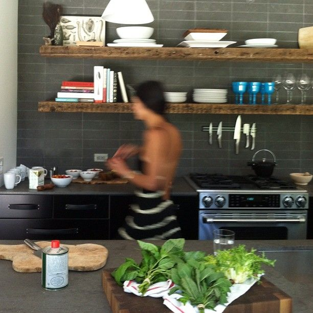 kitchen barn wood shelves (and a partially topless cook?.....hmmm:)