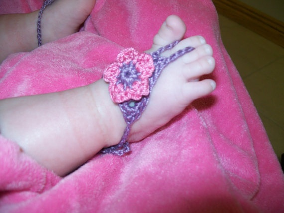 Baby barefoot sandals  newborn size  made to order by LadybugLB, $12.00