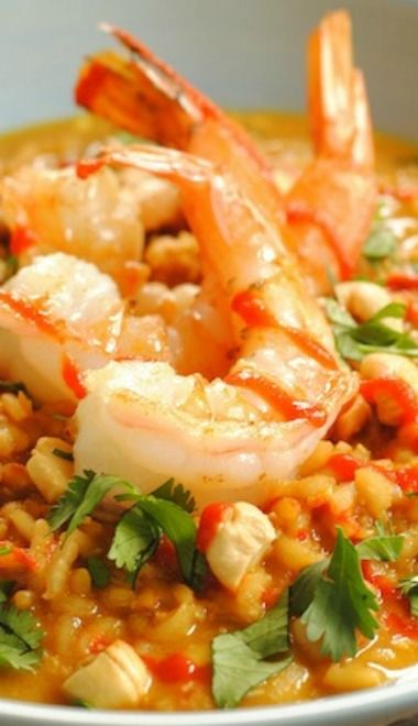 Spicy Coconut Risotto with Lime Shrimp | Recipe