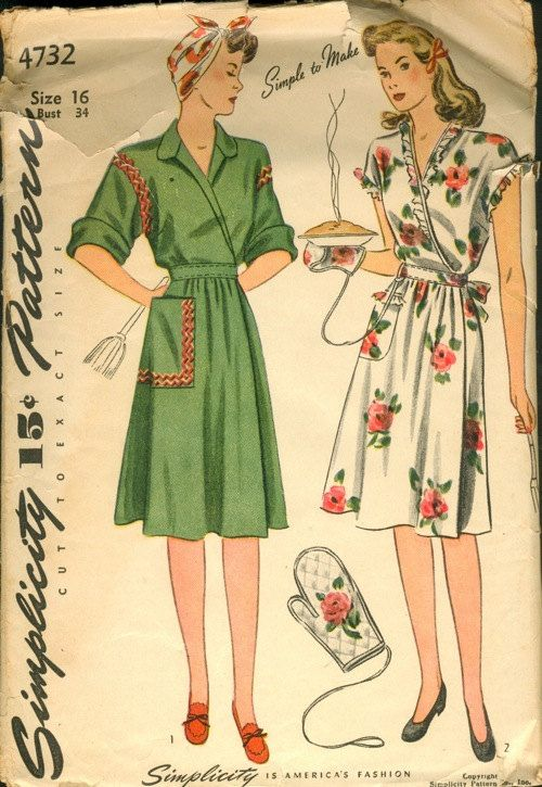 1940s Misses House Dress Pattern and Oven Mitt by CherryCorners, $17.00