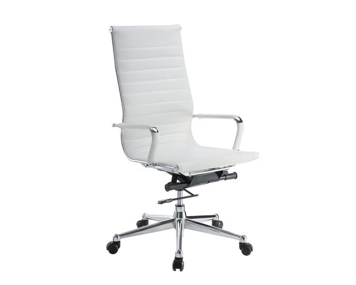 Dmi 6041 80w pantera metal amp leather high back desk chair in white