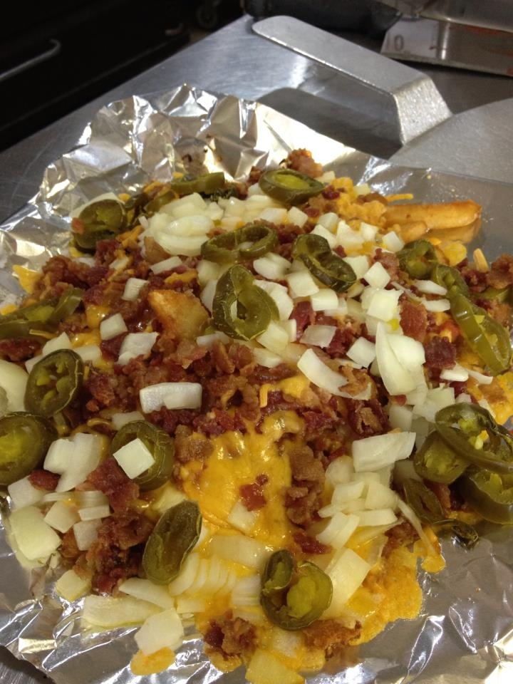 ... onions and jalapeno peppers, w sour cream. Yum!! From Frankie's Pizza