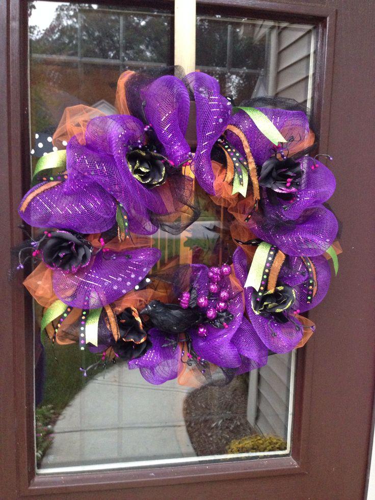 Diy Halloween Mesh Wreath Fall Pinterest